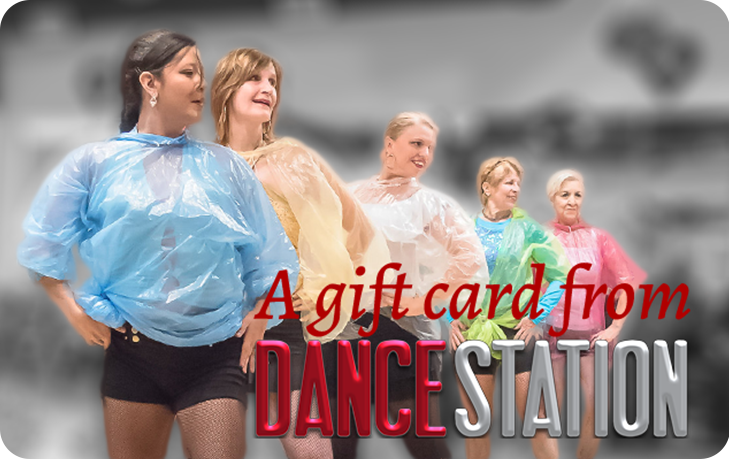"""Gift card with Dance Station women performing """"It's Raining Men"""""""